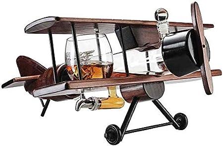 Juego de Jarras y Vasos de Whisky Decantador De Whisky Antiguo 1000ml Conjunto De Aviones Y Gafas Con Piedras De Whisky Set De Regalo De Whiskey Whiskey Whiskey Y 2 World Map Glasses For Liquor Bourbo