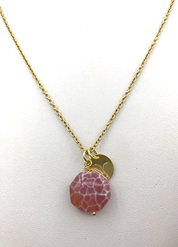 rose gold, gold or silver fire agate and initial necklace ()