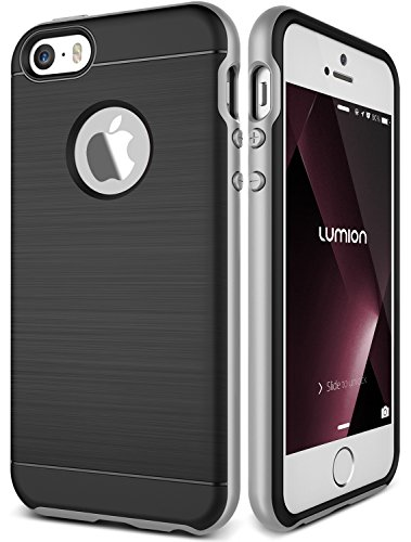 iPhone 5/5S/SE Case, Dual Layer Rugged Hard Drop Protection Slim Thin Fit Full Body Heavy Duty [Shock Absorption] Cover For Apple iPhone 5/5S/SE by Lumion (Guardian - Metallic Silver)