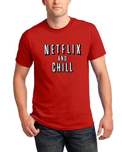 T-Shirts for Men Netflix and Chill Funny Men's Round Neck Tee Shirts(Red,XX-Large) -
