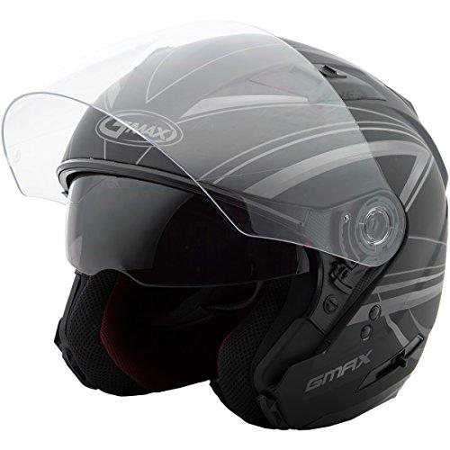 (GMAX Unisex-Adult Style G3773397 TC-12F Of77 Open Face Helmet Derk Flat Black/Silver xl (X-Large))