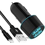 Sngg USB Car Charger, 3.1A Rapid Dual Port USB Car Charger+6ft Charging Cable Compatible iPhone X/8/8 Plus/7/6/6S Plus 5S 5 5C SE,Pad More Extra USB Port(Black iPhone Car Charger)