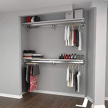 Arrange A Space RCMBX Premium 76  Top and Bottom Shelf/Hang Rod Kits White Closet System,