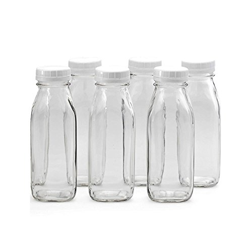 Vintage Glass Fruit - 6-Pack Glass Milk Bottles, 16 oz Glass Bottles with Plastic Lids, BPA Free Drinking Glasses, Safe and Durable Glass Juice Bottles with Caps, Glass Water Bottles, Beverage Glasses