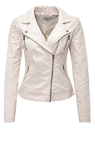 Only Onlsteady Faux Leather Biker CC Otw, Chaqueta para Mujer Moonbeam