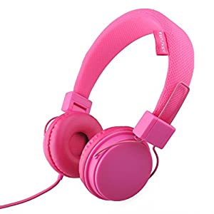 Pink Kids Headphones for Girls, Wired On-Ear Headsets with Microphone, Comfortable Lightweight & Foldable Design for Children (Pink)