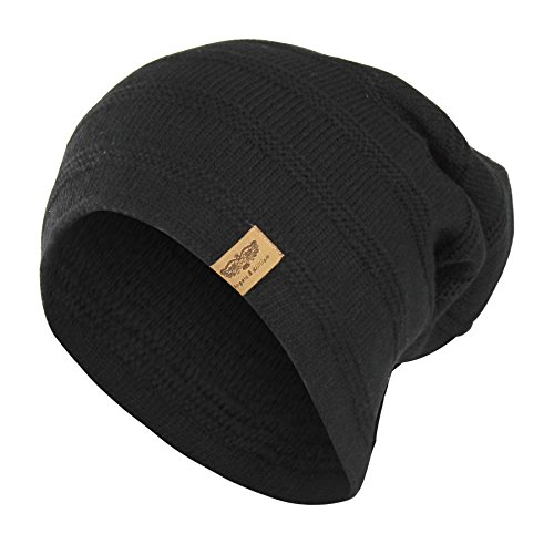 Black Reversible Winter Knit Slouchy Beanie Hat – Hipster Unisex Knitted Cap