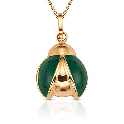 Pendant Green Ladybug (Jewel Connection Beautiful 14K Yellow Gold Open Wing Flying Enamel Ladybug Pendant Necklace with 18