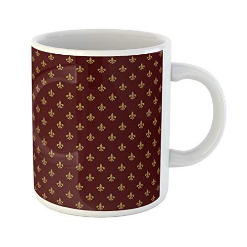 (Semtomn Funny Coffee Mug Pattern Royal Lily Fleur De Lis Abstract Antique Baroque 11 Oz Ceramic Coffee Mugs Tea Cup Best Gift Or Souvenir)