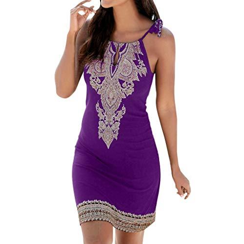 LISTHA Keyhole Halter Mini Dress Boho Dresses for Women Casual Sleeveless Sundress Purple