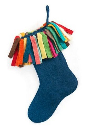 Arcadia Home S404 Hand Felted Wool Christmas Stocking, Navy - Felted Wool Christmas Stocking