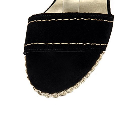 AllhqFashion Mujeres Cuero Sólido Hebilla Puntera Abierta Plataforma Sandalia Negro