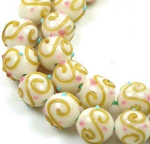 (8 Beads) 12mm Lampwork Handmade Beads Amber Scrolls Round