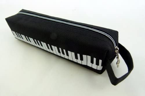 Music Themed Negro Forma Diseño del teclado Tube caja de lápiz de la cremallera con la manija de la mano