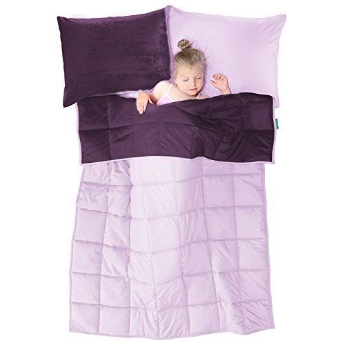 Cheap Nestl Bedding Reversible Plush Microfiber/Cotton 36x48 Inches 4LB Kids Blanket and Pillow Case Set Purple/Lavender Dream Black Friday & Cyber Monday 2019