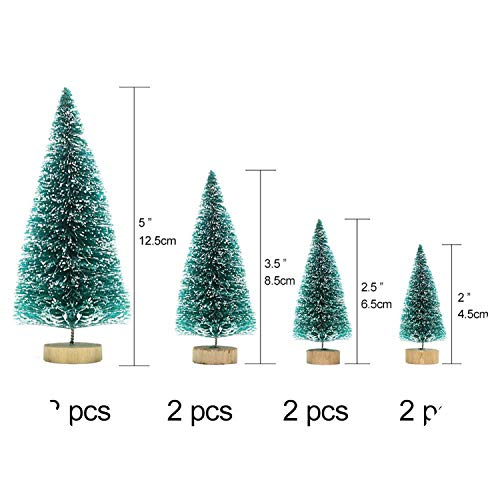 8Pcs Wood Mini Christmas Tree Decorations Year's Artificial Tree Fake Christmas Tree Pine On The Tab