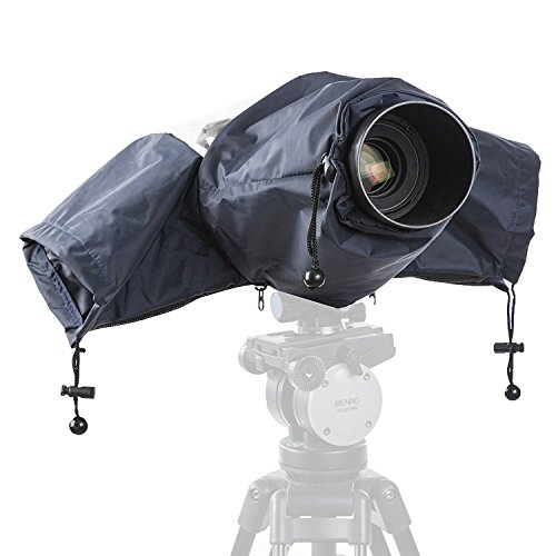 Movo CRC01DB Waterproof Nylon Rain Cover with Enclosed Hand Sleeves for Canon EOS, Nikon, Sony, Olympus, Pentax and Panasonic DSLR Cameras (Dark Blue)