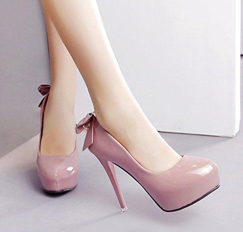 LBDX Printemps et automne douce princesse perle à talons chaussures pour femmes fond épais bowknot chaussures simples (Couleur : Rose, taille : 39) Rose