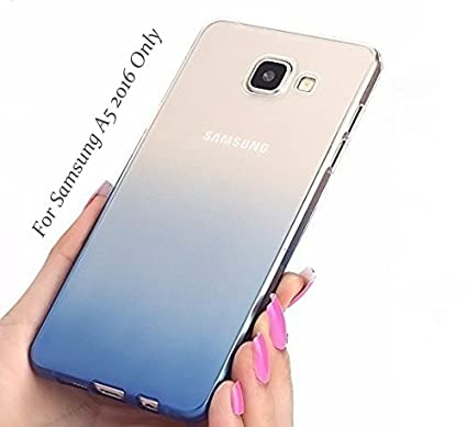 super popular 5b34f cf2f6 Loxxo® Back Cover for Samsung Galaxy A5 2016 Soft Silicone Gradient Case  Cover for Galaxy A5 2016 & Case Cover for Galaxy A510 (Blue)