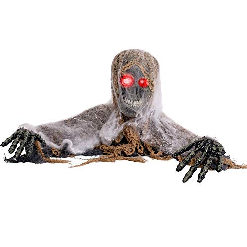 Animated Halloween Pumpkins (Halloween Haunters Animated Skeleton Groundbreaker with Moving Head and Arms Graveyard Prop Decoration - Life-Size Shaking Zombie Skull, Scary Howls, LED Eye, Spider Webs - Haunted House,)