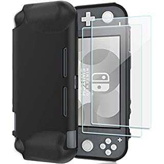 ProCase Nintendo Switch Lite Rubber Case, Slim Soft Shockproof TPU Cover Anti-Scratch Protective Case for Nintendo Switch Lite 2019 with 2 Pack Tempered Glass Screen Protectors –Black