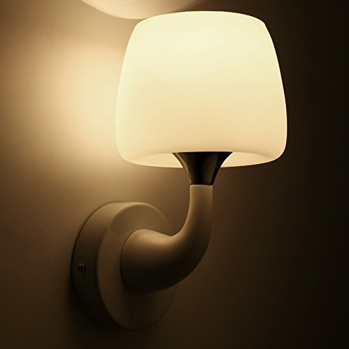 YPOSION Cozy bedroom rooms are stylish bedside lamp white wall lamps ornaments mushroom glass shield