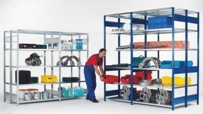 EUROKRAFT Steckregal, doppelreihig - Fachboden-BxT 1300 x (2 x 600) mm blau, Höhe 2500 mm, Grundregal - Fachbodenregal Regal Schwerlastregal Stahlregal Steckregal
