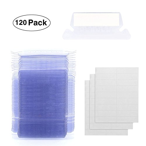 Hanging Folder Tabs, Racol 120 Sets Hanging File Folder Labels Insertable Plastic Tabs for Quick Identification of Hanging Files, Easy to Read, 2 inch Hanging File Inserts (Printable Inserts)