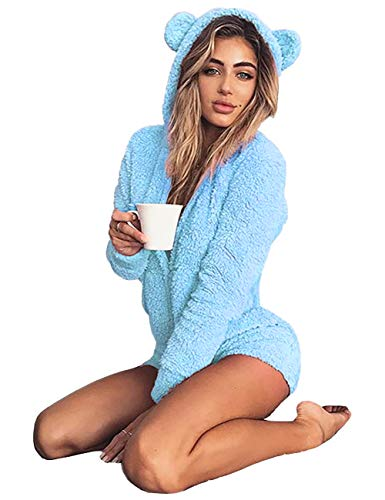 Amiliashp Womens Cute Sherpa Romper Fleece Onesie Pajama One Piece Zipper Short Hooded Jumpsuit Sleepwear Playsuit (Blue, Large)