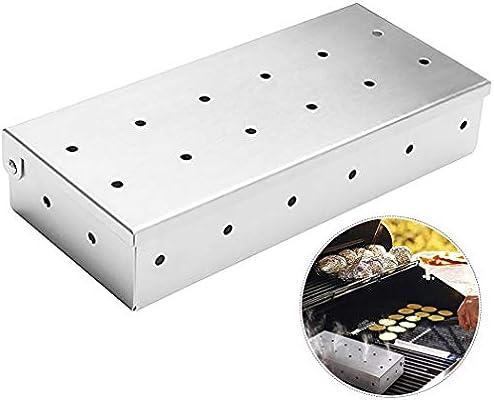 JUSTDOLIFE Caja De Fumador Acero Inoxidable Astillas De Madera Caja De Fumar Caja De Ahumador para Parrilla: Amazon.es: Jardín
