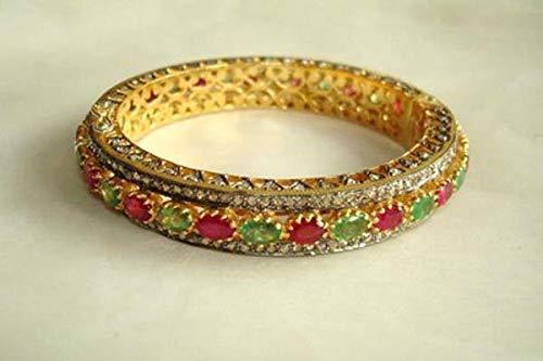 (costozon vintage diamond tennis bracelet 30 Tcw Ruby, Emerald Rose Cut Diamond 925 Sterling Silver vintage style jewellery)