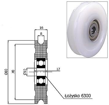 Zabi Nylon Seilrolle d = 80 mm fur Seil 8 mm Kunststoffprofilrollen ...