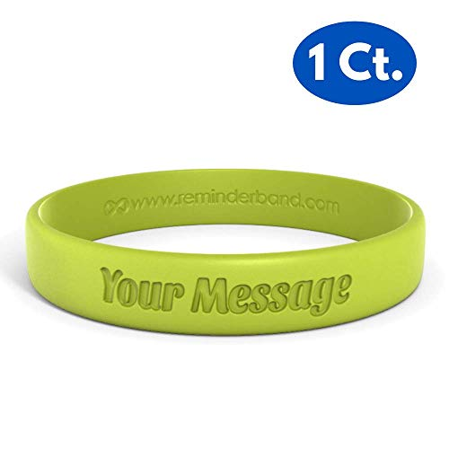 Personalized Silicone Wristbands - Reminderband Classic Custom 100% Silicone Wristband - Personalized Silicone Rubber Bracelet - Customized, Events, Gifts, Support, Causes, Fundraisers, Awareness - Men, Women, Kids