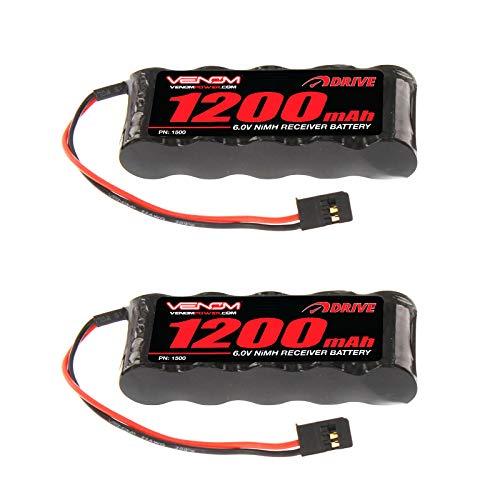 - Venom 6v 1200mAh 5-Cell Flat Receiver NiMH Battery x2 Packs