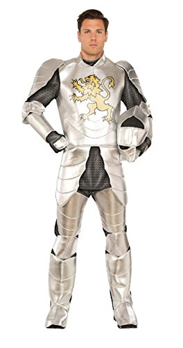 Pizzaz! Men's Knight's Tale Deluxe Costume, Silver/Gold, Standard -