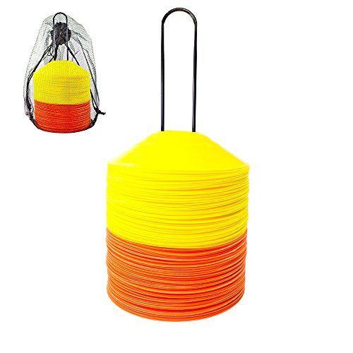 Agility Disc Cones - Pack of 50 or 100 Cones - Perfect for Soccer, Football Training & More - Includes Disc Cone