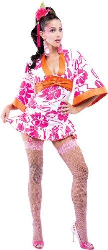 Geisha Womens French Kiss Costumes (Paper Magic Womens French Kiss Geisha Costume, Pink/White, Medium)