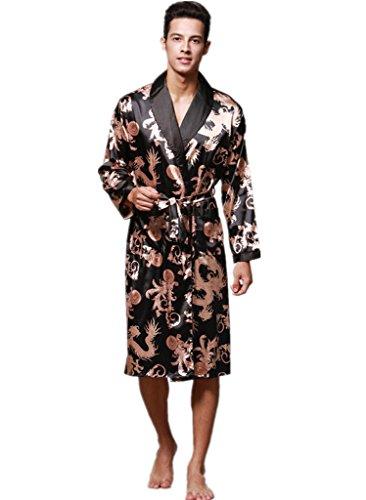 YUAKOU Men's Kimono Robes Long Sleeve Satin Dragon and Phoenix Pattern Silk Nightwear Bathrobes