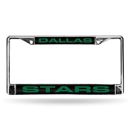 Rico Industries NHL Dallas Stars Laser Cut Inlaid Standard Chrome License Plate Frame