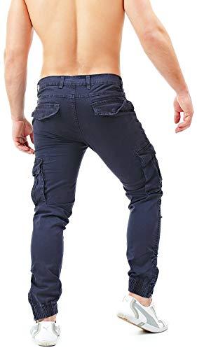 Instinct Slim Tasche Elastico Caviglie F028 Blu Jeans Con Zip Militari Uomo Laterali Tasconi Fit Pantaloni Cargo Alle 84qr8A