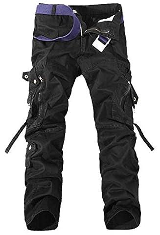 DigerLa Men's Loose Casual Cargo Pants Black