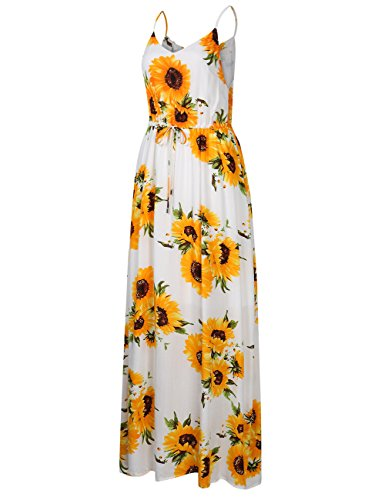 Summer Neck Waist Spaghetti Drawstring sunflower Maxi Dress Strap Women Leadingstar Beach Print V Slim Floral White 4qngpzvW