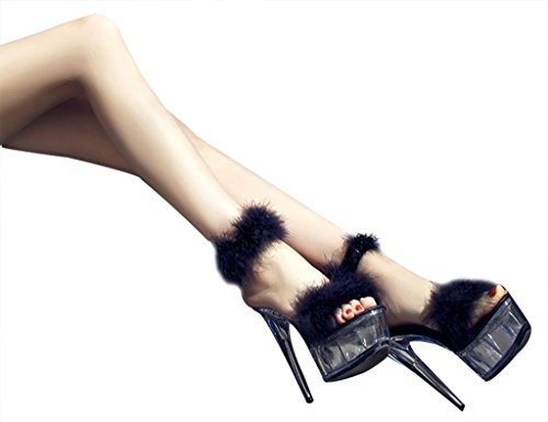 Fashion Stiletto Toe Shoes High Prom Women's Sandals Platform CAMSSOO Open Black Heel qwH5San