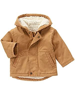 Baby Girls' Tan Sherpa-Lined Twill Jacket