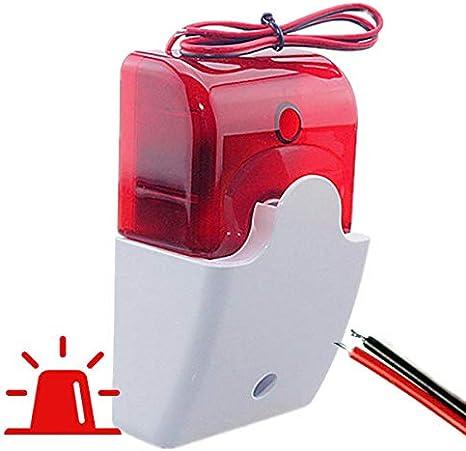 Sirena Exterior con LUZ Caja Leds. Avisador alarmas. Luminosa Alarma Externa con Cable 2 Hilos Musical FS102. Conexion con 2 Cables 12 voltios hasta Central de Alarma. Color Rojo y Sonido
