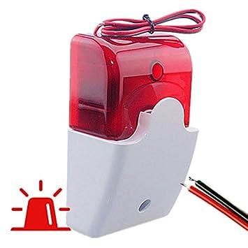 alarmaszoom Sirena Exterior con LUZ Caja Leds AVISADOR EN ALARMAS Luminosa Alarma Externa con Cable 2 Hilos Musical