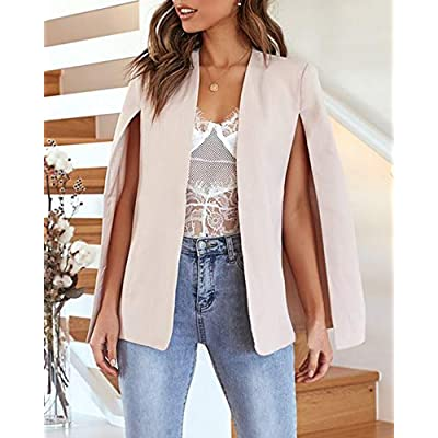 GAMISOTE Womens Casual Blazer Cape Open Front Split Sleeve Long Cloak Jacket Coat Workwear at Women's Clothing store