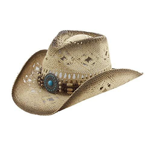 (Men's & Women's Western Style Cowboy/Cowgirl Toyo Straw Hat (Tea Stain-Turquoise/Beads))