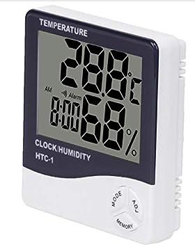 J&J termómetro higrómetro Reloj Digital Data con Pantalla LCD 12/24 Horas Alarma 3 en