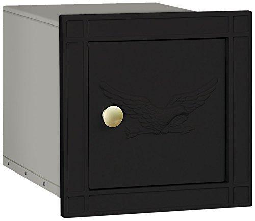Mailbox Wall Blk (Salsbury Industries 4140E-BLK Cast Aluminum Column Non-Locking Eagle Door Mailbox, Black by Salsbury Industries)